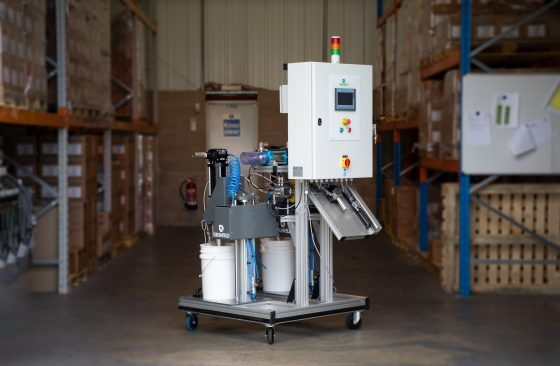 variable ratio, variable cartridge size 2 component filling machine